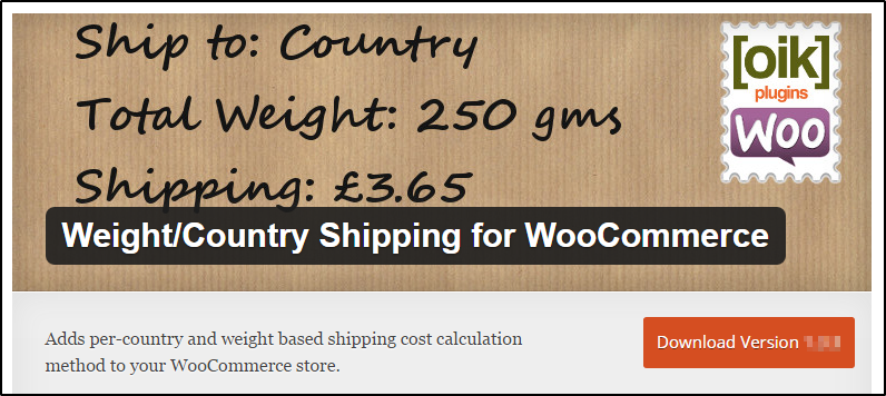 Weight Country Shipping for WooCommerce