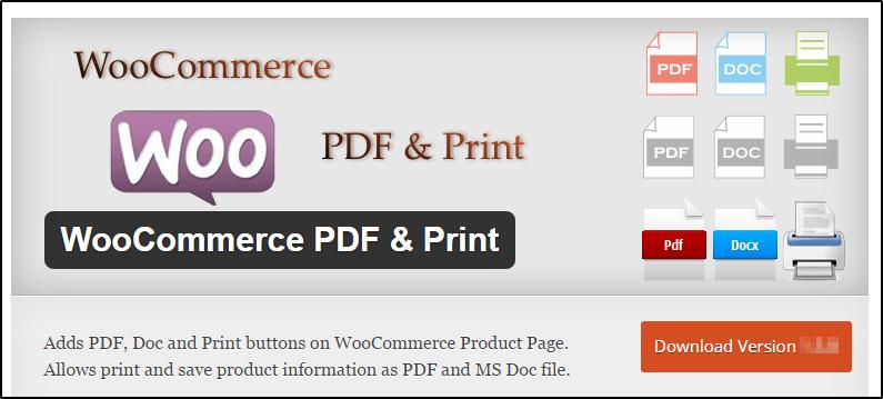 WooCommerce pdf and print